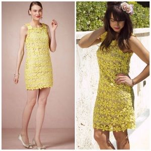 Anthropologie Hoss Intropia Lace Yellow Dress
